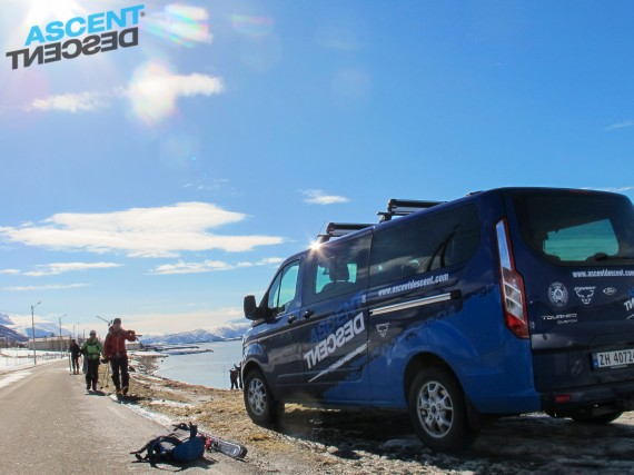The van offers a comfy ride from the airport to the lodge and to the mainland ski touring. Photo: Jimmy Halvardsson