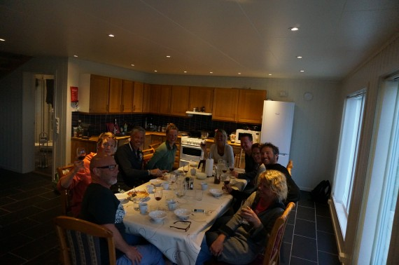 Big dinner with the group on last night together. Pete Gaston, Dave Rosenbarger and Rosanna joining for the  season finish at the Ascent Descent ski lodge. Photo: Jimmy Halvardsson