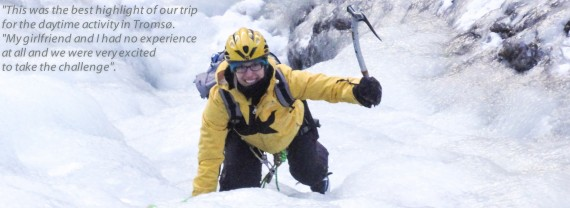 Ice climbing day tours from Tromsø city is a perfect activity when visiting in mid winter.
