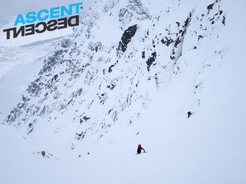 climbing the top couloir of Store Jægervasstinden. Photo: Jimmy Halvardsson