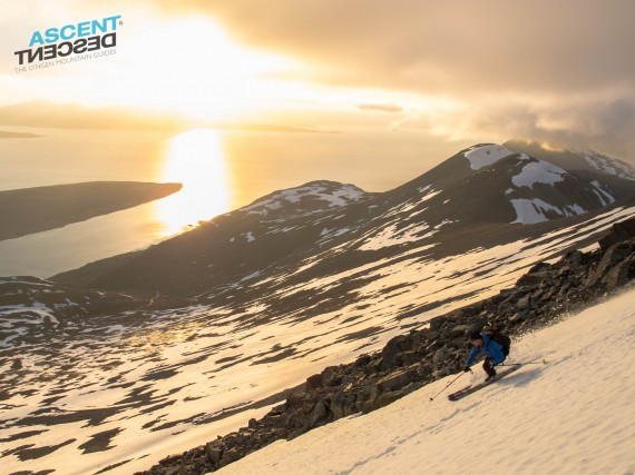 First evening and already skiing in the midnight sun here. Great snow and cool people! Photo: Jimmy Halvardsson
