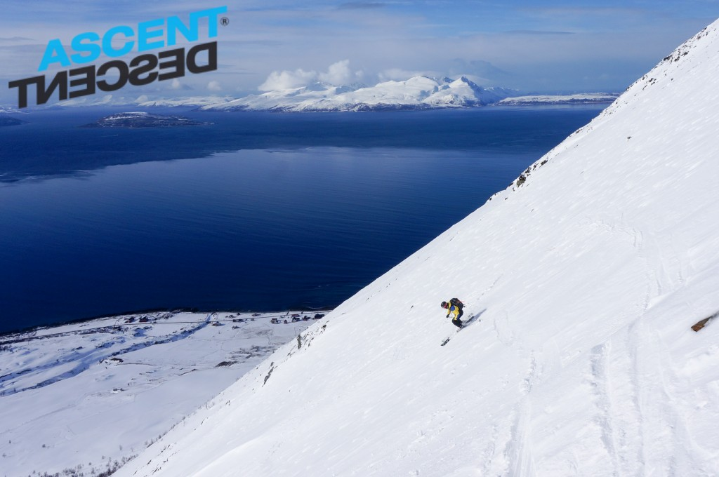Skiing the west face of Russelvfjellet. Photo: Jimmy Halvardsson
